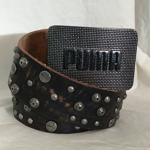 Puma Accessories - Puma Leather Studded Belt Square Buckle
